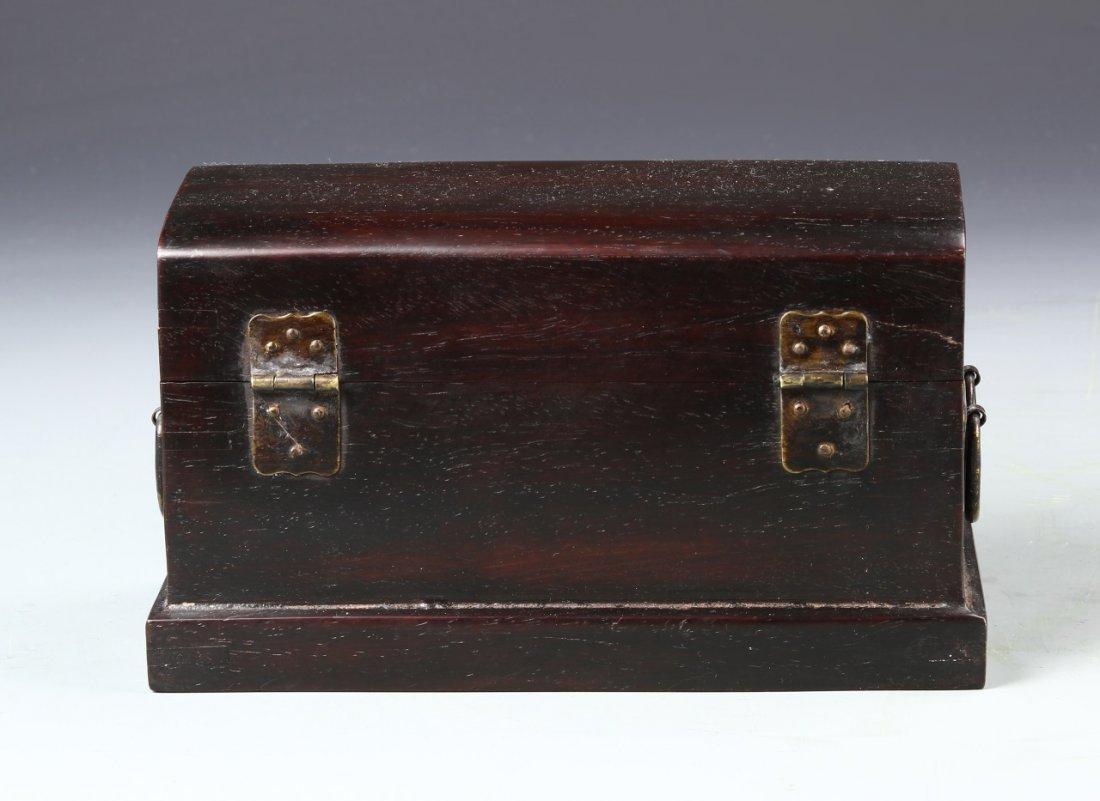 Chinese Zitan Wood Scholars Box - 3