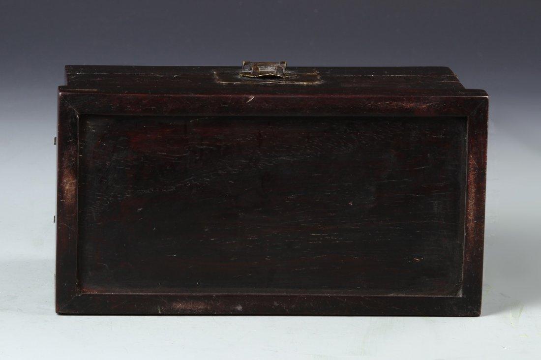 Chinese Zitan Wood Scholars Box - 4