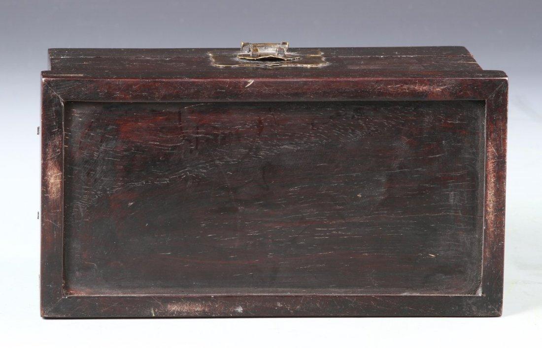 Chinese Zitan Wood Scholars Box - 5