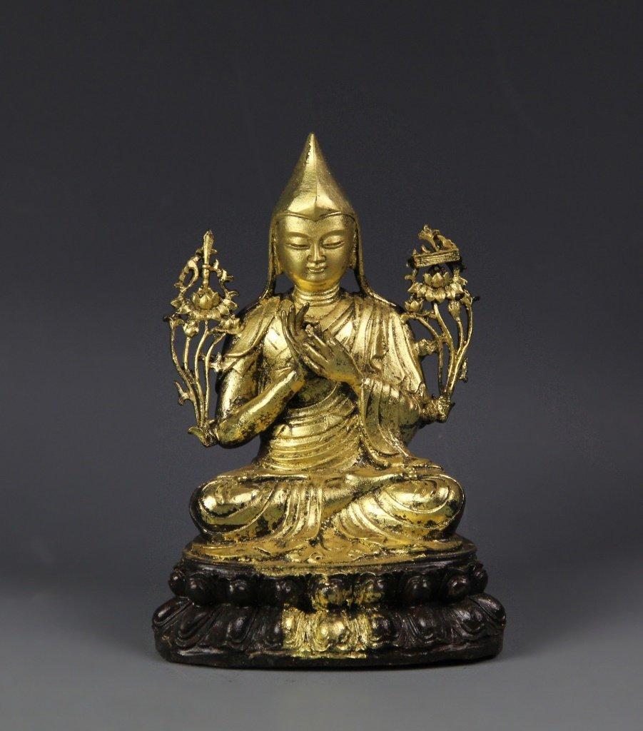 Chinese Partially Gilt Buddha