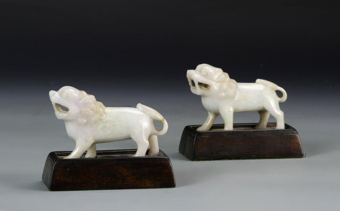Pair of Chinese Jadeite Foo Lions
