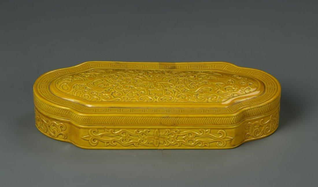 Chinese Yellow Glazed Ink Box