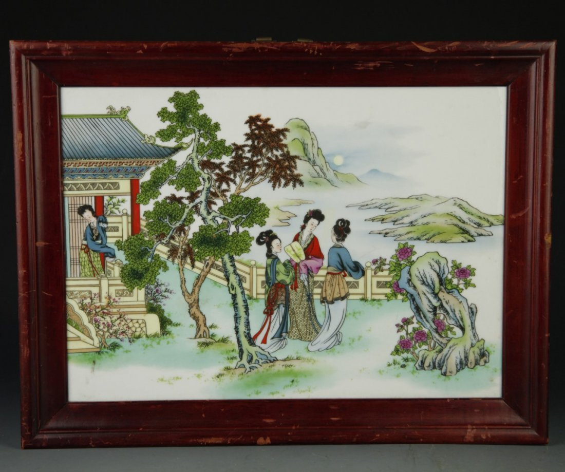 Framed Chinese Famille Rose Plaque