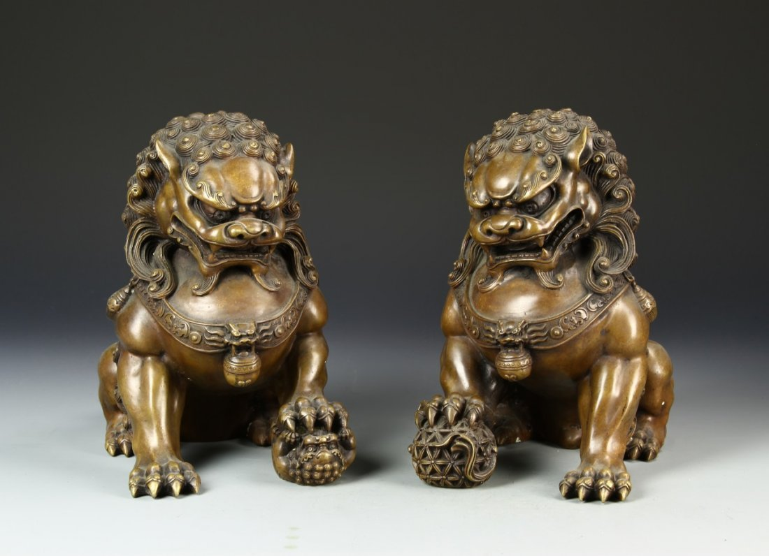 Pair of Chinese Bronze Foo Dogs