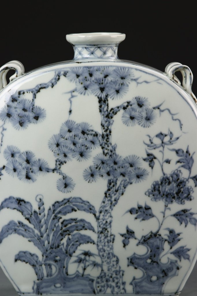 Chinese Blue and White Flask Vase - 2