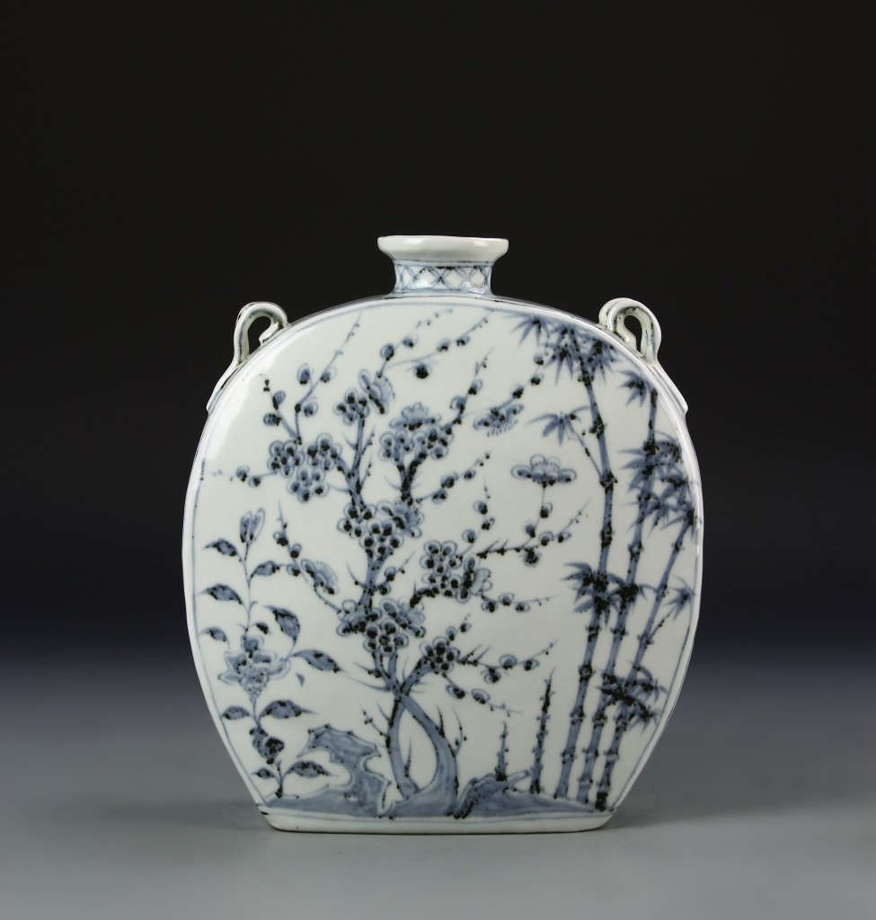Chinese Blue and White Flask Vase - 5