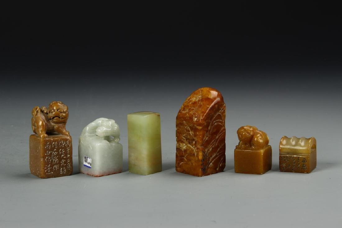 Six Chinese Stone Seal Chops