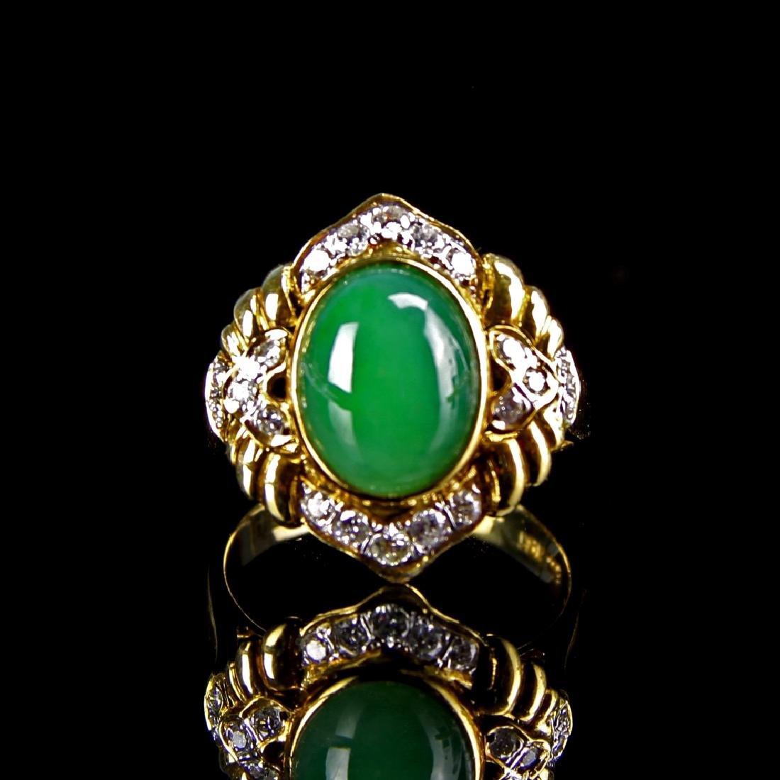 Chinese Jadeite And 18K Gold Ring