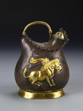 Chinese Tang Dynasty Gilt Bronze Vessel