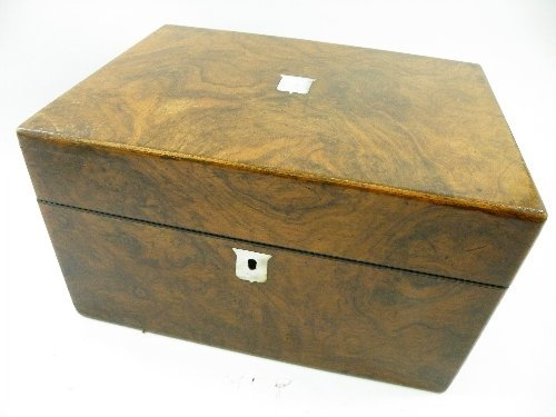1: A 19th century walnut fitted travelling case with se