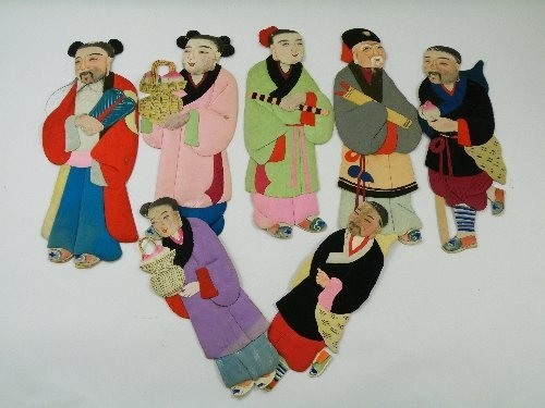 17: Seven vintage paper and silk Chinese 2D puppet/doll