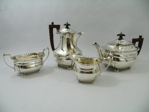 294: Chester silver four-piece tea service comprising t