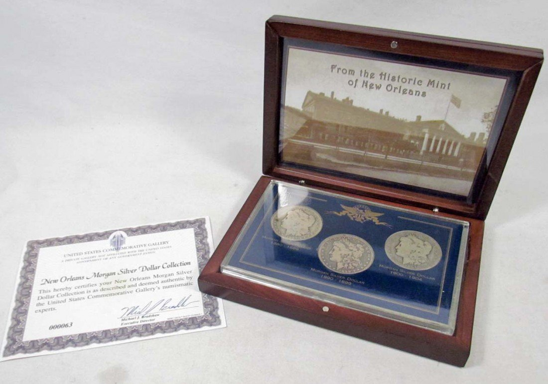 23: 3  Morgan Silver Dollars Cased - New Orleans