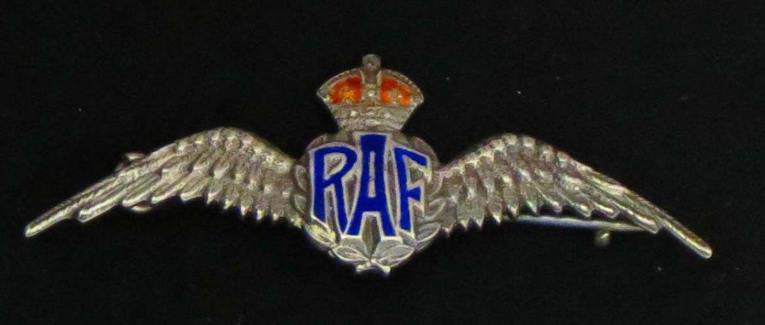 141: Rare WWII Sterling Enamel RAF Pilot Wings