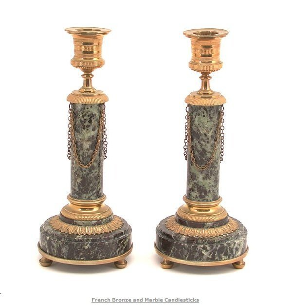 118: PAIR OF FRENCH BRONZE AND MARBLE CANDLESTICKS.