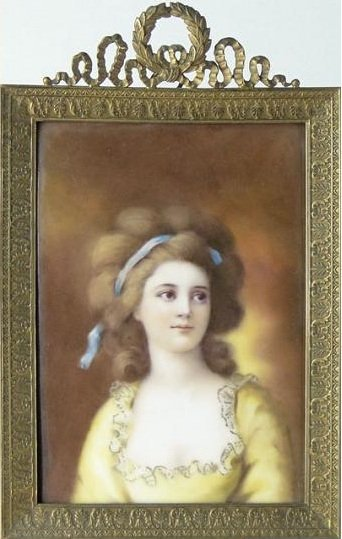 "193: 19/20 C. HAND PAINTED PORCELAIN PLAQUE. ""PRETTY GI"
