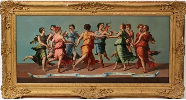 101: DANCE OF THE MUSES OIL ON BOARD.