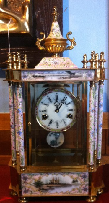 9: Brass and enamel clock