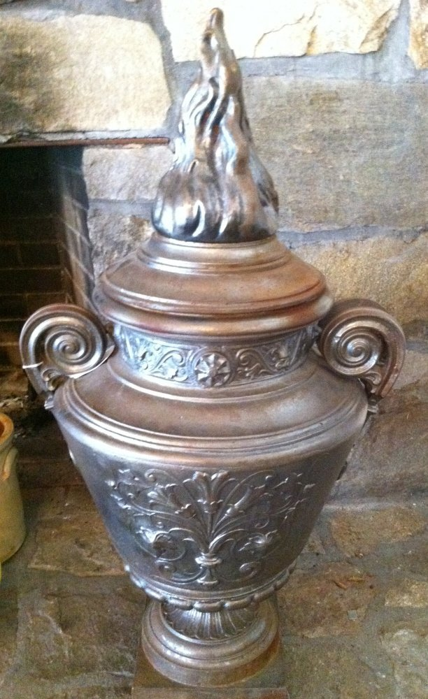11: Pair of cast-iron urns