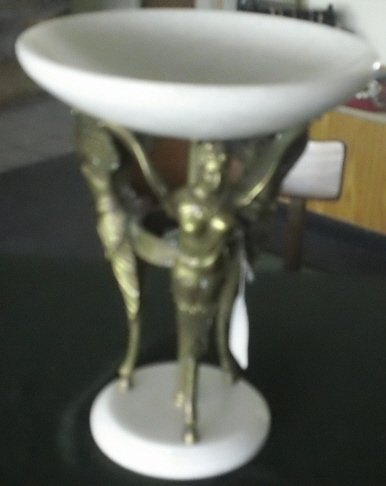 13: Brass and alabaster/marble compote