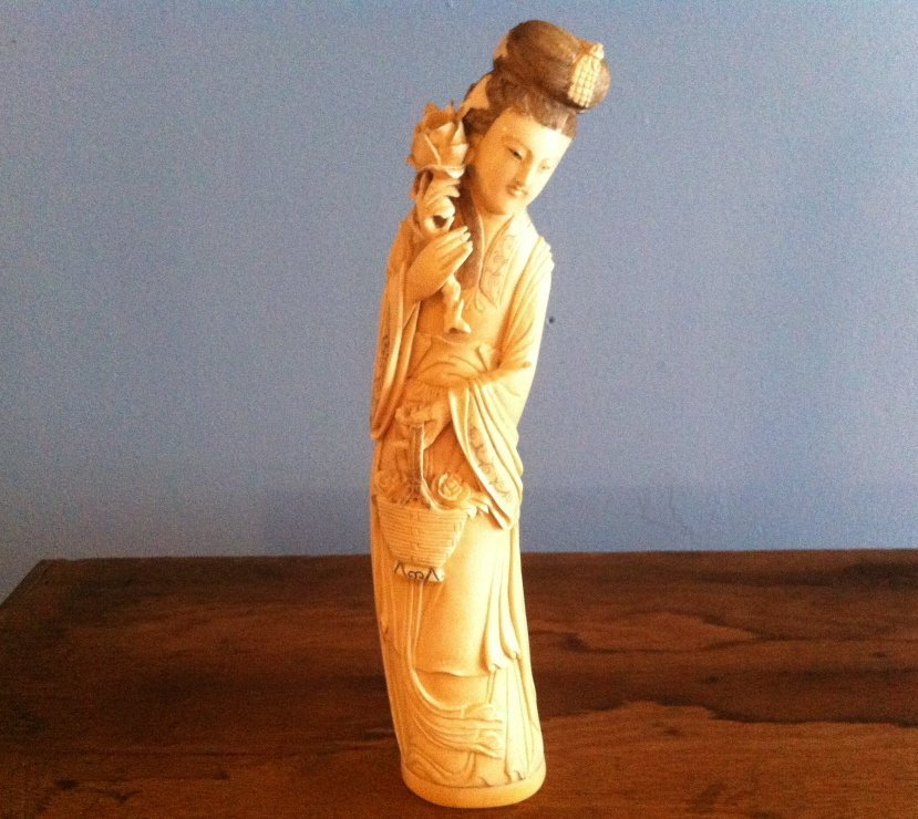 338: Signed Ivory Figure, Woman with Flowers
