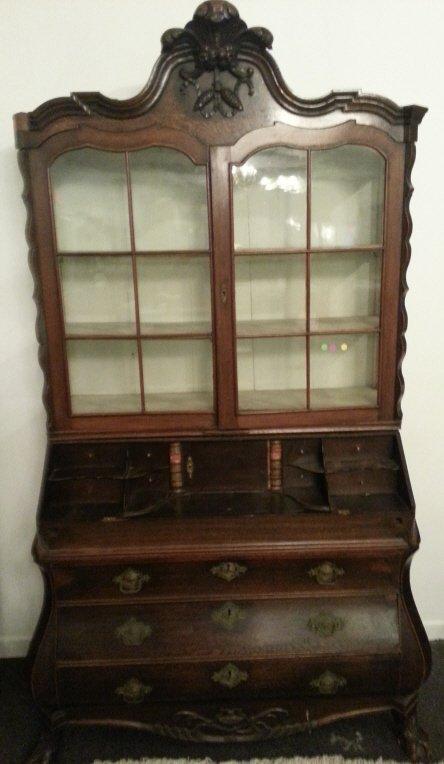 12: Oak Secretary Bookcase, Dutch Baroque, 19th Cent.