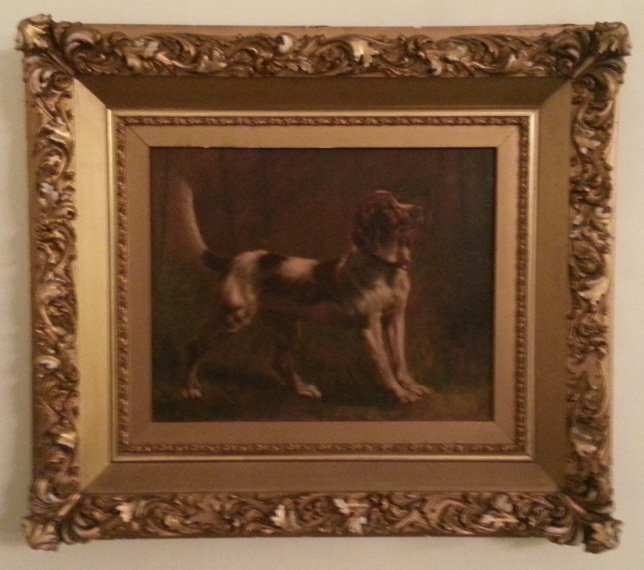 17: Oil on Canvas, Dog Picture in a Gilded Frame