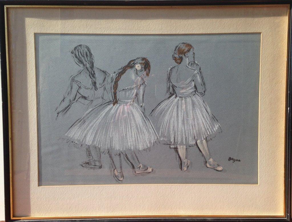 "Edgar Degas Original Pastel, ""Three Ballerina's"""
