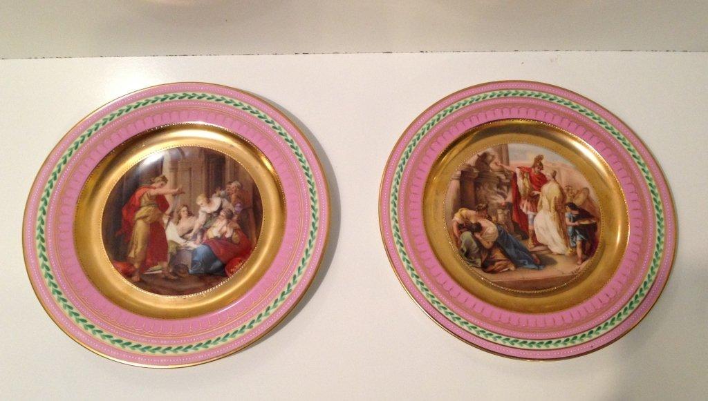 Pair of Royal Vienna Hand-Painted Plates