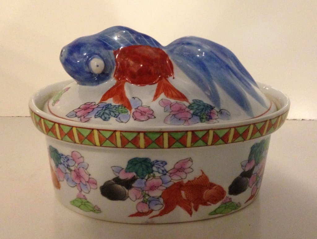 Hand-Painted Oriental Koi Casserole Dish
