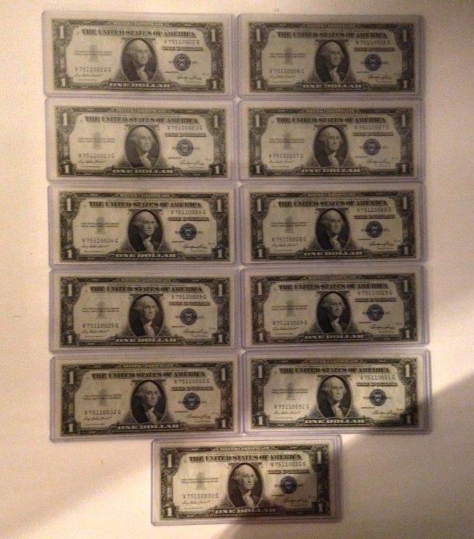 Lot of 11 1935 E $1 Dollar Silver Certificates