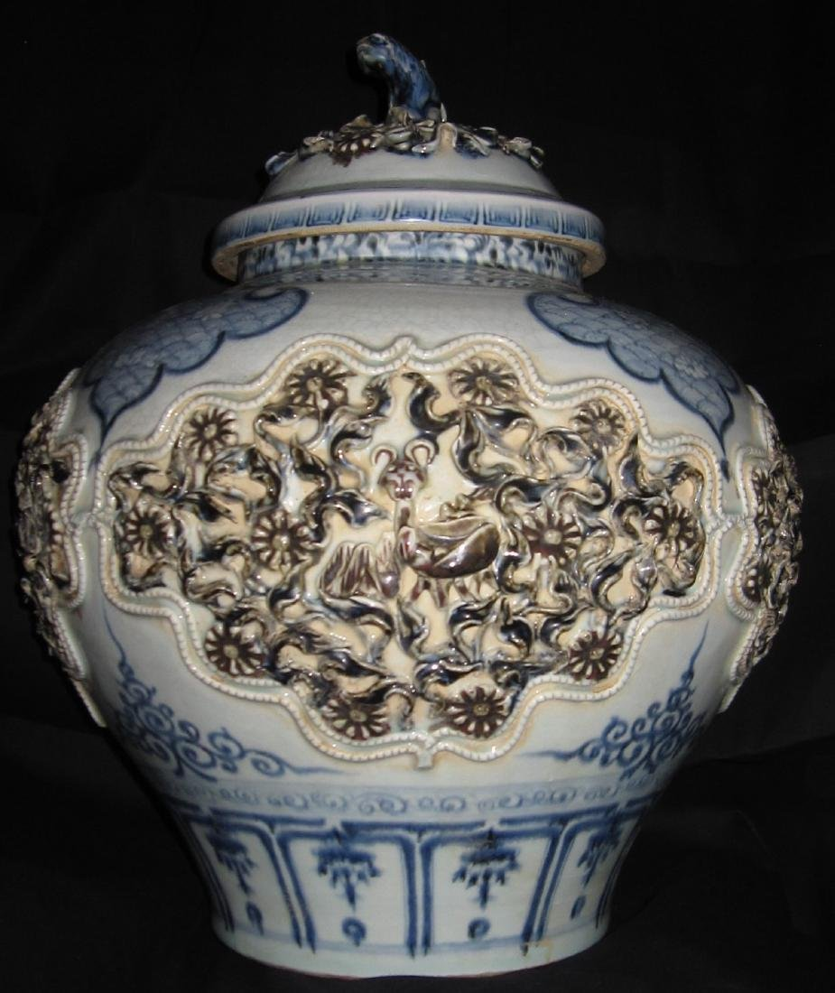Yuan dynasty blue & white and red under glaze jar