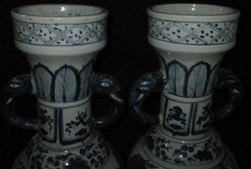 Yuan blue &  white elephent large vase - 3