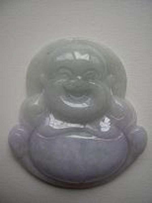 Chinese Lavender Jadeite Jade Pendant Happy Buddha