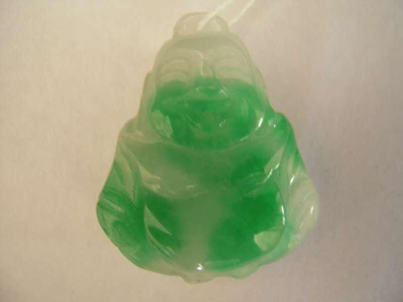 Chinese Green Jadeite Jade Two-sided Happy Buddha