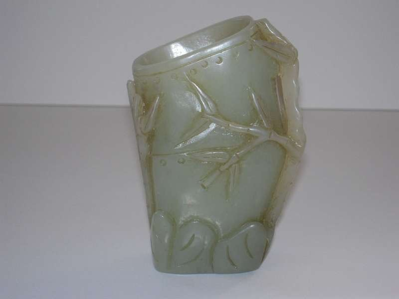 Chinese Jade Carved Brush Pot