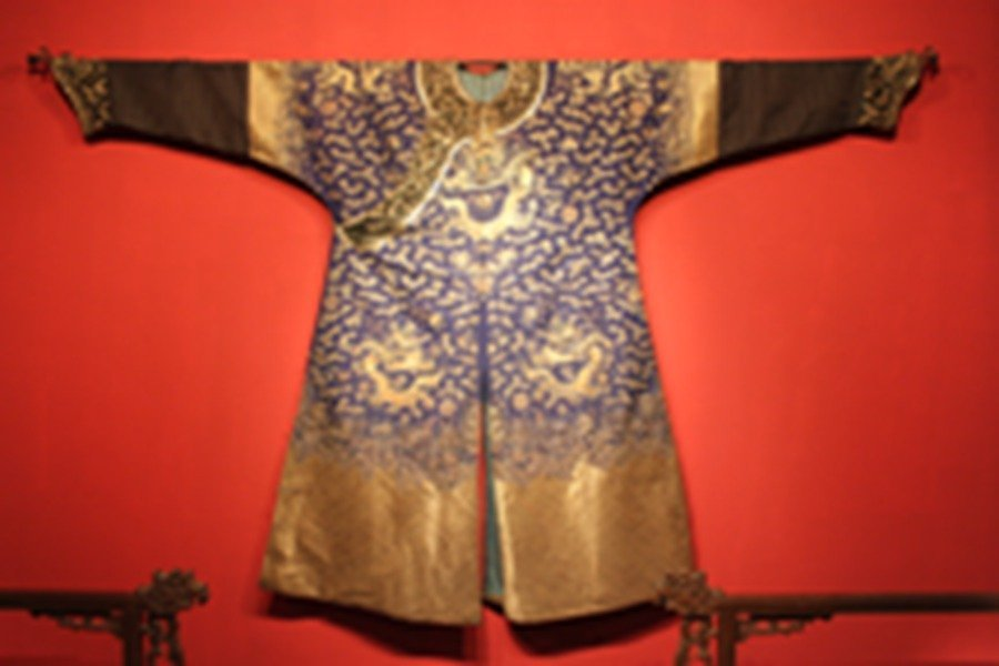 Chinese Qien Dynasty Embroidered Blue Silk Dragon Robe