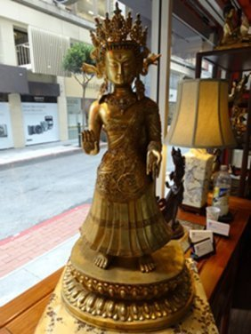 Standing full 24K Gilt Bronze Kuangyin Buddha Figure