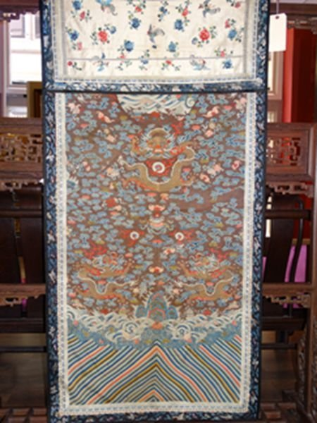 Chinese embroidered Kesi silk with dragon and phoenix