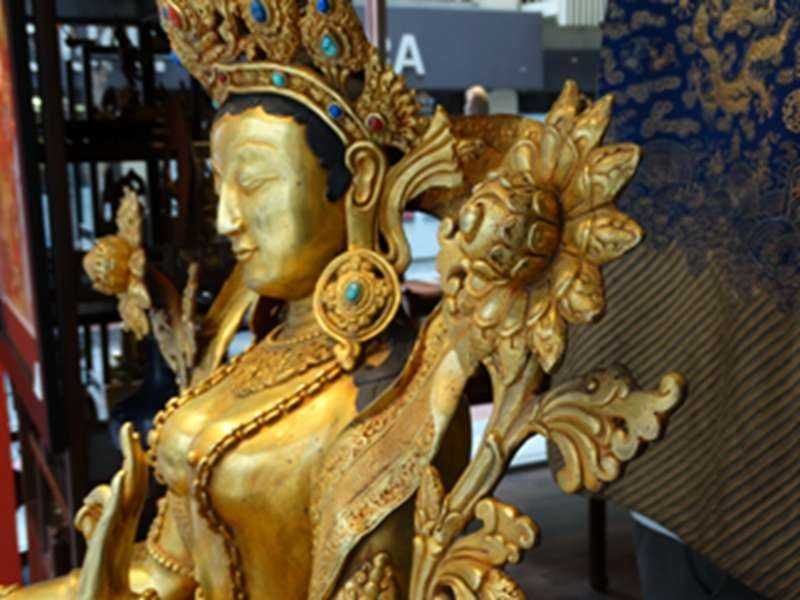 Large Full 24K goldGilt Sitting  Guangyin Buddha Figure