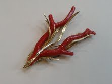 Chinese Red Branch Coral Brooch 18K Gold红&#29642