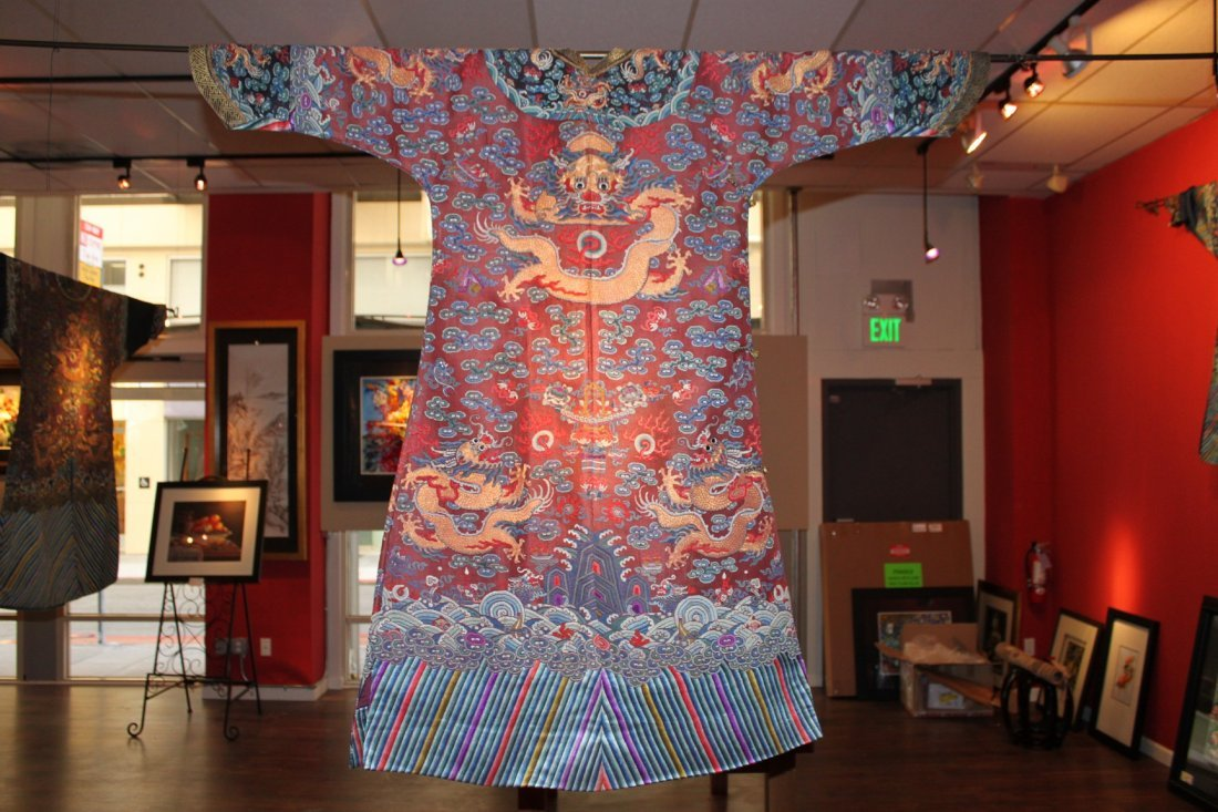 Qing Dynasty Dragon Robe (red Back Ground)