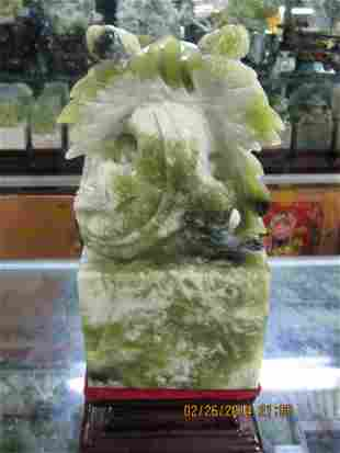 Chinese jade carved dragon seal 玉彫龙