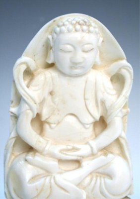Chinese White Coral Carved Budha 白珊