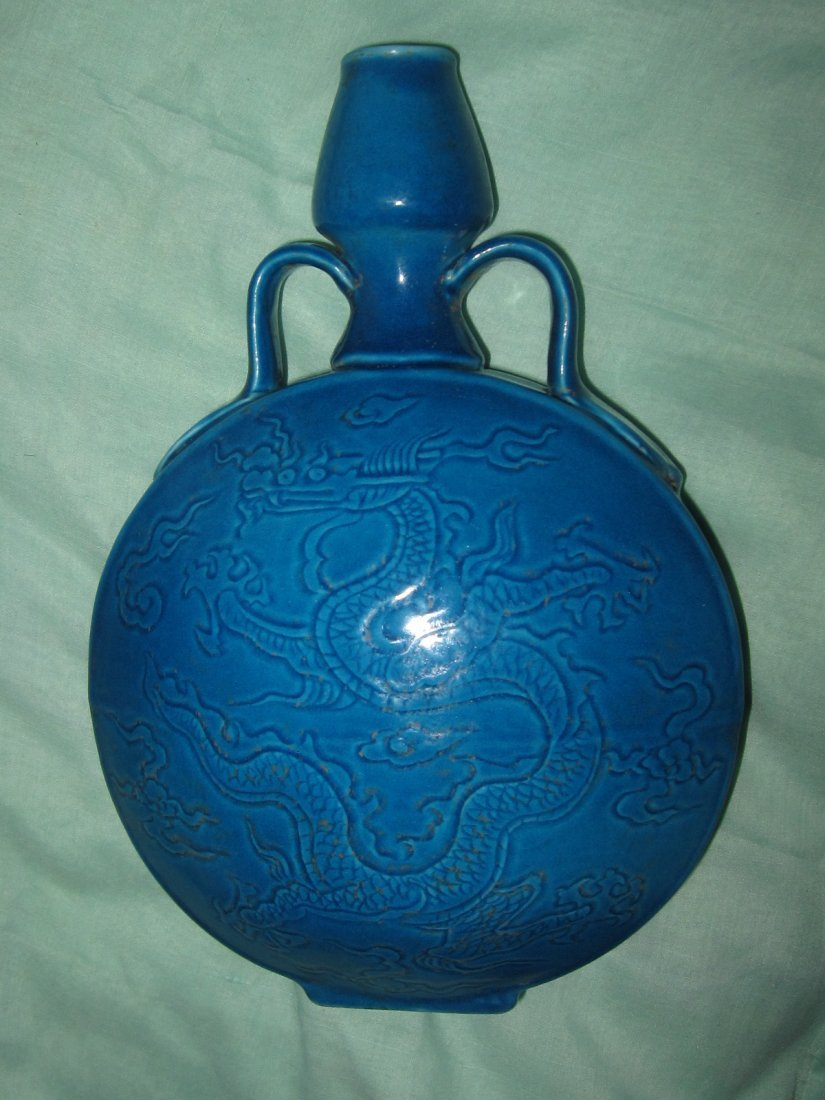 Xuande peacock-blue ears hold on vase  明宣