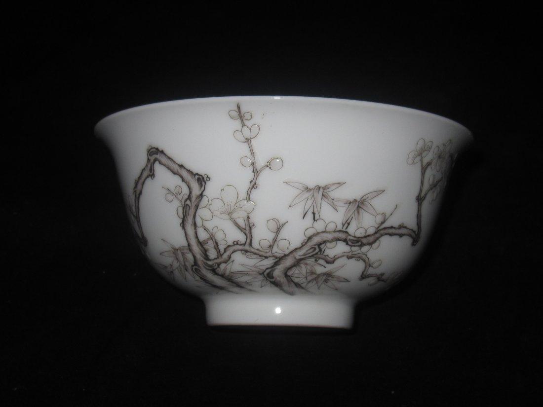Chinese black ink Enamel   plum blossom bowl