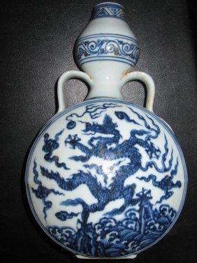 Chinese Ming  blue & white dragon bottle
