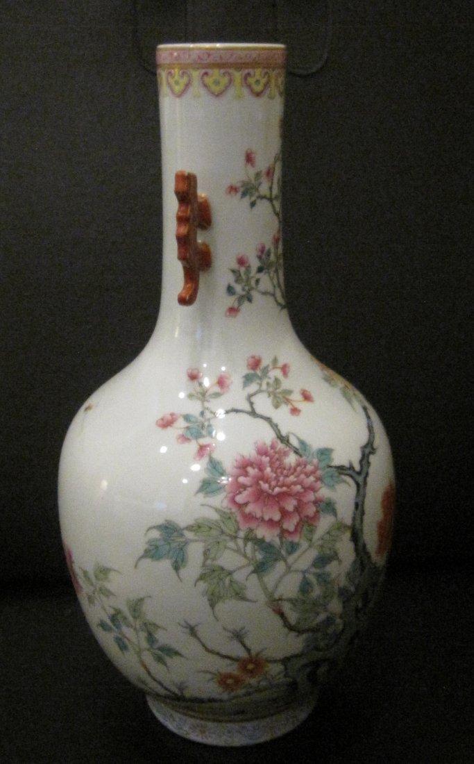 Jiaqien dynasty long neck famillar vase with ears - 3