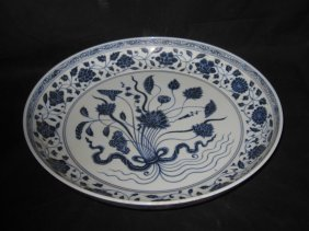 Chinese yongle blue & white  a bonch of lotus of plate