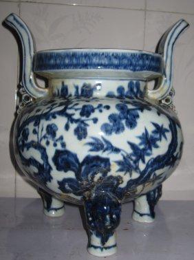 Chinese ming blue & white incense burner